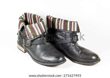 Black Leather Soldier Girl Boots - stock photo