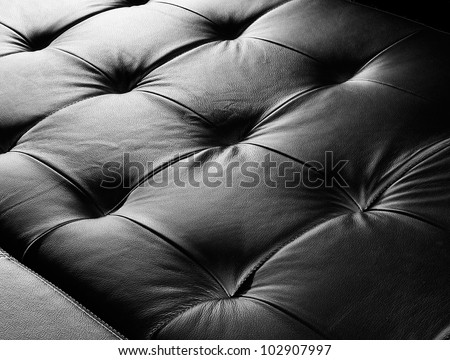 black leather texture, furniture upholstery - stock photo