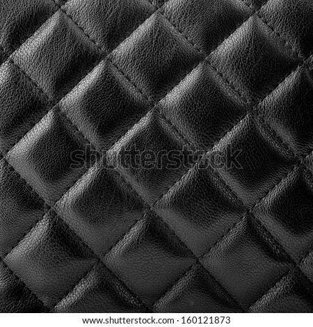 Black leather upholstery texture with great detail - stock photo
