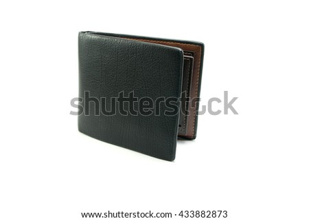 black leather wallet on white background isolated - stock photo
