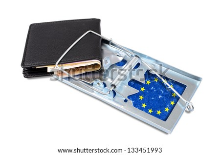 Black leather wallet with money, caught in a EU trap. - stock photo