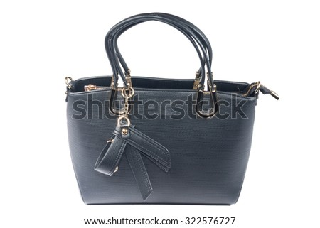 Black leather women's handbags isolate on white - stock photo