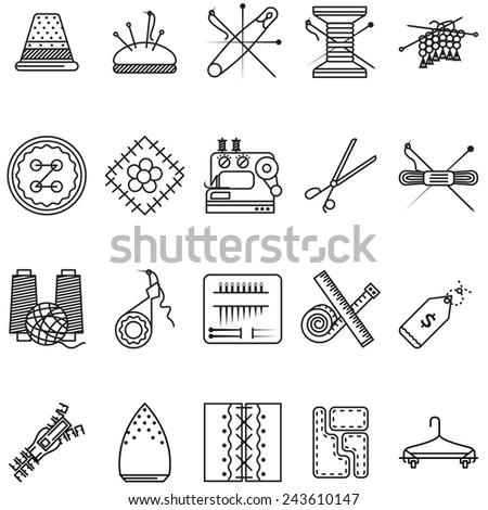 Black line icons collection for sewing or handmade. Set of black line design vector  icons for sewing tools or items for handmade on white background. - stock photo