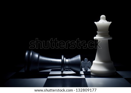 Black lost. The King at the feet of Queen - stock photo
