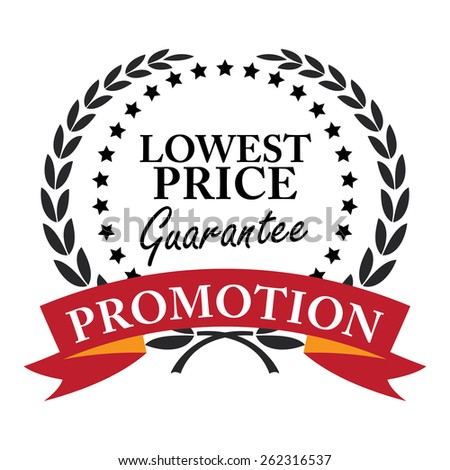 Black Lowest Price Guarantee Promotion Wheat Laurel Wreath, Ribbon, Label, Sticker or Icon Isolated on White Background - stock photo