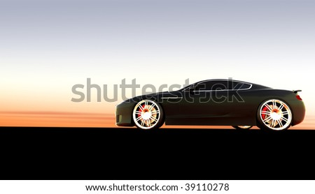 Black luxury dream sports car at sunset / sunrise with copy space - stock photo