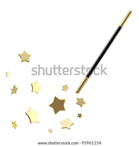Black magic wand casting shiny golden stars isolated - stock photo
