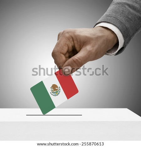 Black male holding flag. Voting concept - Mexico - stock photo