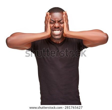 Black man holding his head in pain and depression, isolated on white background - stock photo