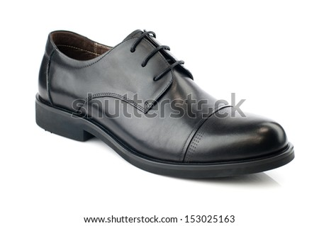 Black man leather shoe with shoelaces on white background - stock photo