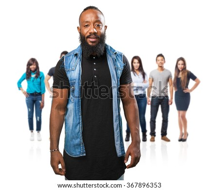 black man smiling on white - stock photo
