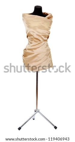 black mannequin with silk cloth isolated on white - stock photo