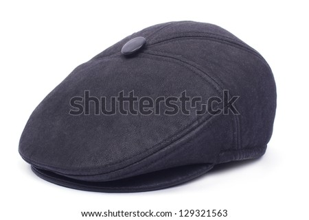 Black men's leather cap isolated on white background - stock photo