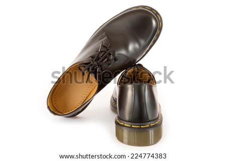 Black Men's Shoes isolated on white - stock photo