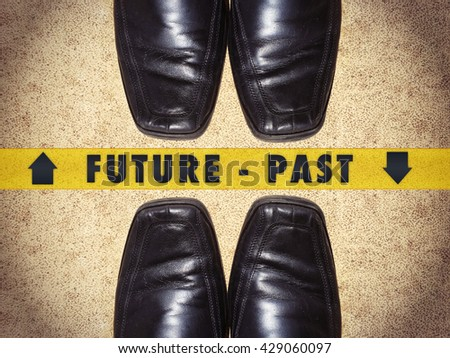 Black men shoes shoes with words Future - Past - stock photo