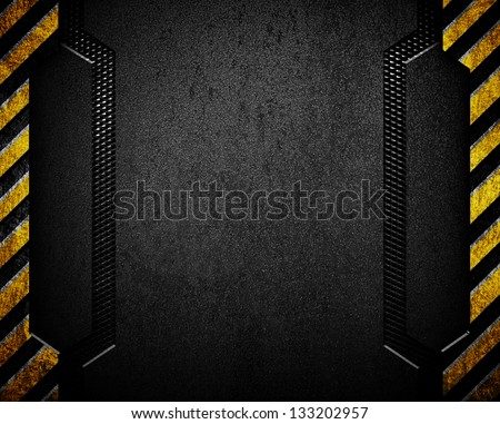 black metal background with caution stripes - stock photo