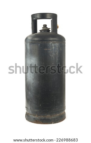 black metal gas bottle isolated on white - stock photo