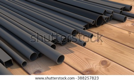 Black metal pipes - stock photo