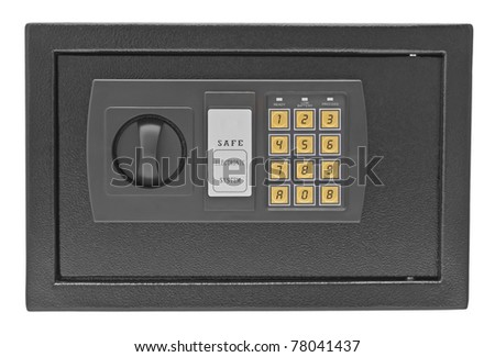 Black metal safe isolated on white background - stock photo
