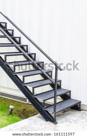 Black metal Staircase - stock photo