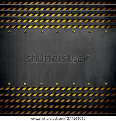 black metal template with warning stripes - stock photo