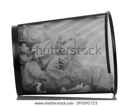 Black metal trash bin isolated on white background. - stock photo