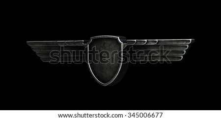Black metal wings isolated on black background left view. 3d render - stock photo