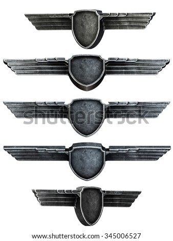 Black metal wings set isolated on white background. 3d render - stock photo