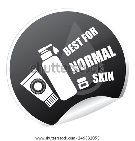 Black Metallic Best for Normal Skin Cosmetic Container Sticker, Icon or Label Isolated on White Background  - stock photo