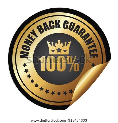Black Metallic Circle 100% Money Back Guarantee Infographics Peeling Sticker, Label, Icon, Sign or Badge Isolated on White Background - stock photo