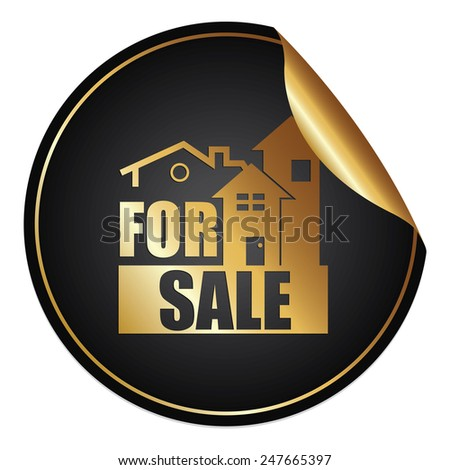 Black Metallic House or Office for Sale Sticker, Icon or Label Isolated on White Background  - stock photo