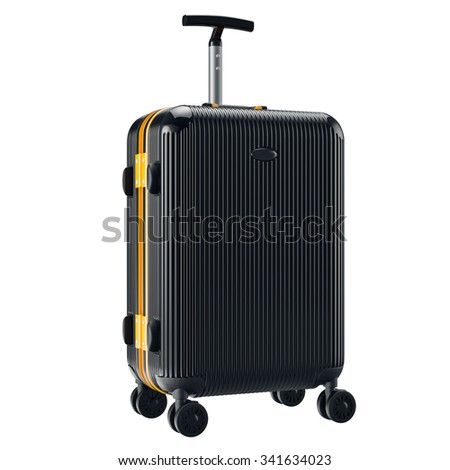 Black metallic luggage. 3D graphic object isolated on white background - stock photo