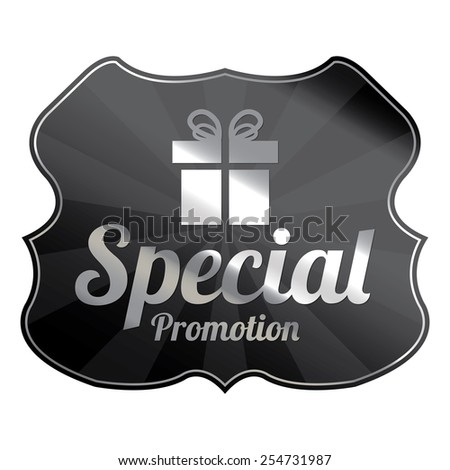 Black Metallic Special Promotion Badge, Icon, Label, Sign or Sticker Isolated on White Background  - stock photo