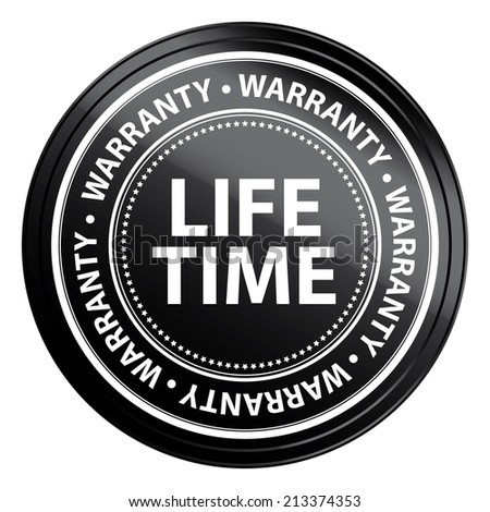 Black Metallic Style Lifetime Warranty Icon, Badge, Label or Sticker for Product Warranty, Quality Control, Quality Assurance, Quality Management, CRM or Customer Satisfaction Isolated on White - stock photo