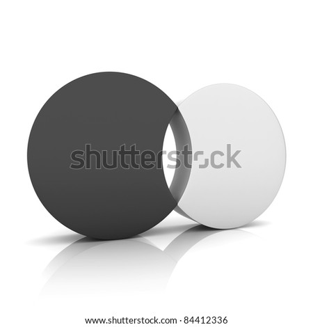 Black metallic symbol with two cylinders and hole (concept of union) - stock photo