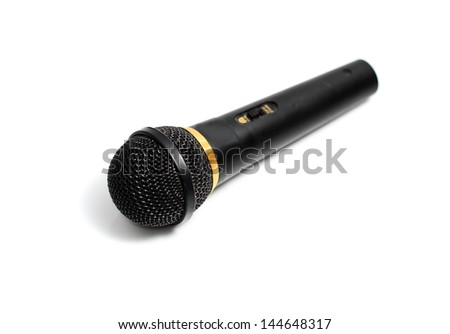 Black microphone with black wire isolated on white - stock photo