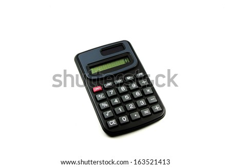 Black mini calculator on white isolated background. - stock photo