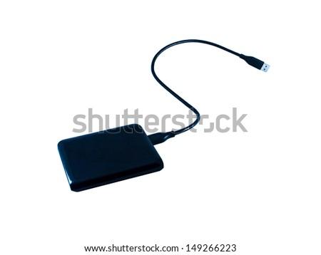Black mini hard disc on the white background. - stock photo