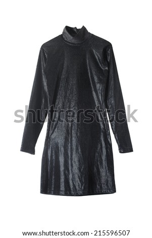 Black mini shining dress isolated over white - stock photo