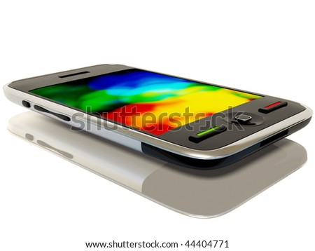 black mobile on white background - stock photo