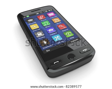 Black mobile phone on white isolated background. 3d - stock photo
