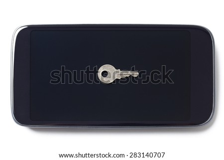 Black mobile phone with a key on the screen isolated on white background. The key in the center is symbolic sign. - stock photo