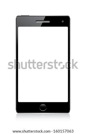 black mobile phone with white blank screen isolated on white.  illustration(rasterized version) - stock photo