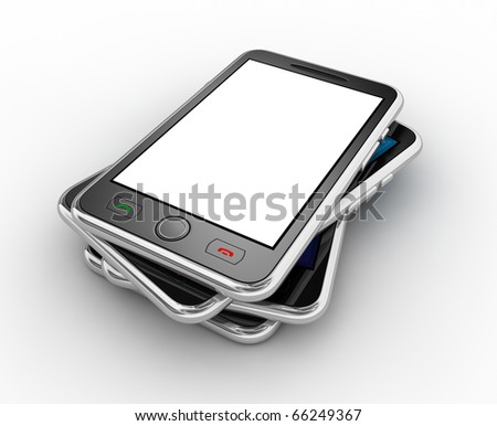 Black mobile smart phone. No trademark issues because this is my own design. This is a detailed 3D render. - stock photo