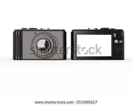 Black modern compact digital photo camera - front and back side - stock photo