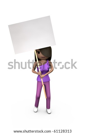 Black Modern 3D Woman Holding Protest Placard Shaded Copyspace - stock photo
