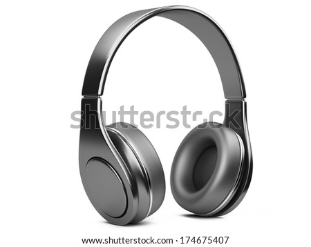 black modern headphones. 3d illustration isolated on a white background - stock photo