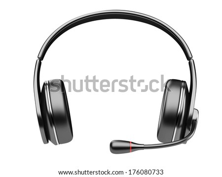 black modern headphones with microphone isolated on white background - stock photo