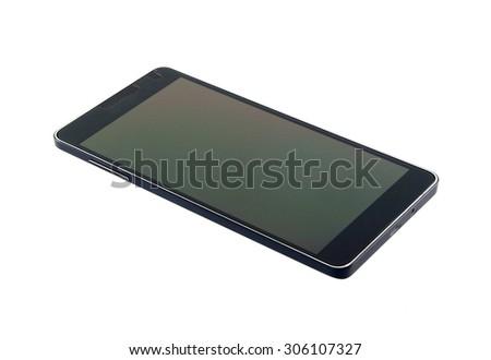 Black modern smartphone  isolated on white background - stock photo