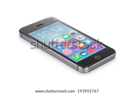 Black modern smartphone with flat design application icons on the screen lies on the surface, isolated on white background. Whole image in focus, high quality. - stock photo